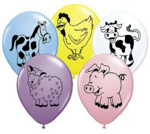 Assorted Barnyard Animals Latex Balloons - Set of 12 - Farm Chicken Sheep Cow Pig Horse - 1