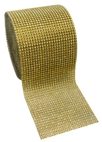 "Lowest Price! Gold Diamond Rhinestone Mesh Ribbon, Wedding Ribbon, Diaper Cake Ribbon, 4.75"" x ..."