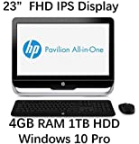 "2016 HP 23"" All-in-One Desktop Computer (Intel Pentium G3220T 2.6 GHz CPU, 4GB DDR3 RAM, 1TB HDD, DVD+/-RW, 23"" FHD 1920x1080 Backlit IPS Display, WiFi, USB3.0, Windows 10 Pro) (Certified Refurbished)"
