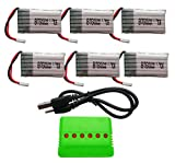 BTG 3.7V 680mAh Battery 6PCS & 6 In 1 Battery Charger for Syma X5C