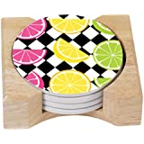 CounterArt Bright Citrus Design Absorbent Coasters in Wooden Holder, Set of 4