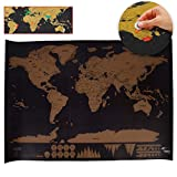 Black Deluxe Scratch Map World Map Poster Personalized Travel Vacation Map