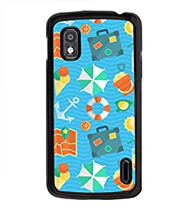 Fuson Premium 2D Back Case Cover Beach pattern With yellow Background Degined For LG Google Nexus 4