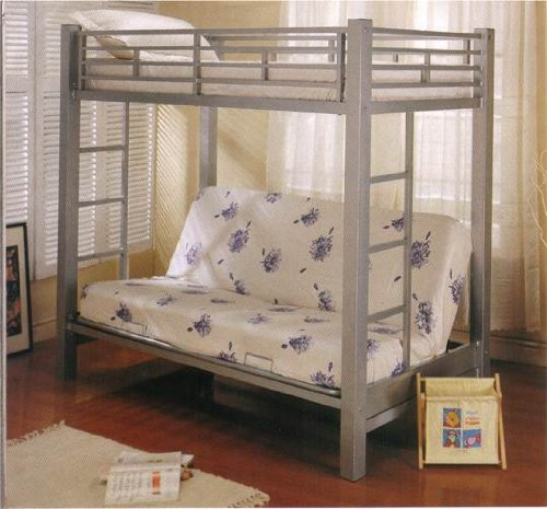 Coaster futon metal bunk bed in silver finish twin cheap for Cheap metal bunk beds