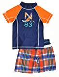 Nautica Boys Orange & Navy Plaid 2pc Rash Guard Swim Top & Swim Short Set (7)