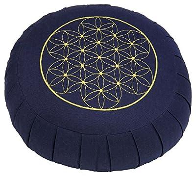 """Meditationskissen ZAFU BASIC (dunkelblau) rund mit Dehnfalten, mit Stickerei """"Blume des Lebens"""", Dinkel-Füllung, Ø 32 cm,17cm hoch, Yogakissen, Sitzkissen, blau"""