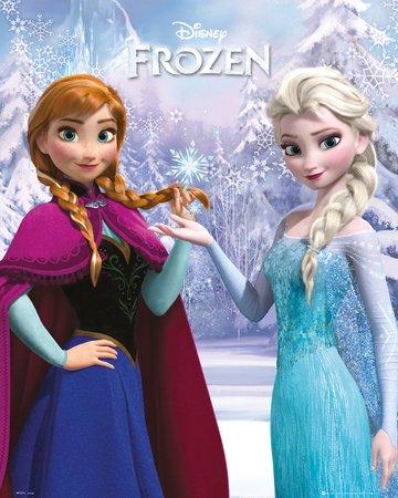 """FROZEN - Poster Reine des Neiges - 40 x 50 cm- """" Anna And Elsa """""""