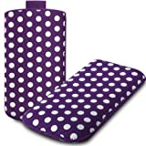 IGloo Polka Dot Print Pouch Case Cover Sleeve with Pull Tab for the LG Nexus 5 Mobile Phone - Purple / White