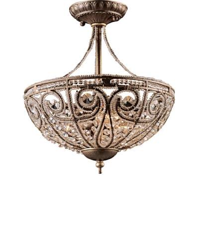 Artistic Lighting Elizabethan 3-Light Semi Flush-Mount Ceiling Fixture, Dark Bronze