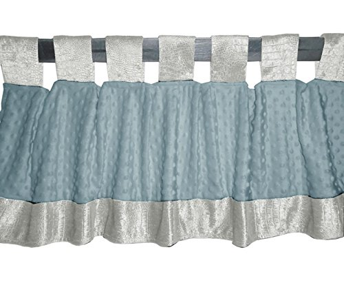 Baby Doll Croco Minky Window Valance, Ivory/Blue