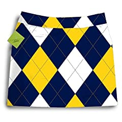 Loudmouth Golf Ladies Skorts: Blue & Gold Mega - Size 8 by Loudmouth Golf