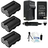 3-Pack NP-FM500H High-Capacity Replacement Batteries With Rapid Travel Charger For Select Sony Digital Cameras. UltraPro Bundle Includes: Camera Cleaning Kit Screen Protector Mini Travel Tripod