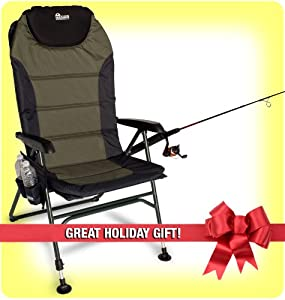 FREE ROD & REEL ($20.00 Value) EARTH FISHING CHAIR - ULTIMATE 4-POSITION OUTDOOR... by Earth