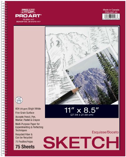 Pro Art 8-1/2-Inch by 11-Inch Sketch Paper Pad, 75 Sheets