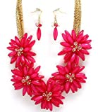 Beautiful Chunky Big Deep Pink Fuchsia Flower and Beads Statement Bib Necklace and Earrings Set Fashion Jewelry