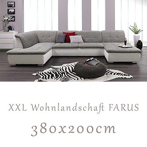Wohnlandschaft-Couchgarnitur-XXL-Sofa-U-Form-weissgrau-Ottomane-links