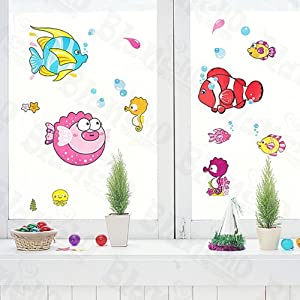 Tropical fish wall decals stickers appliques home decor for Home decorations amazon