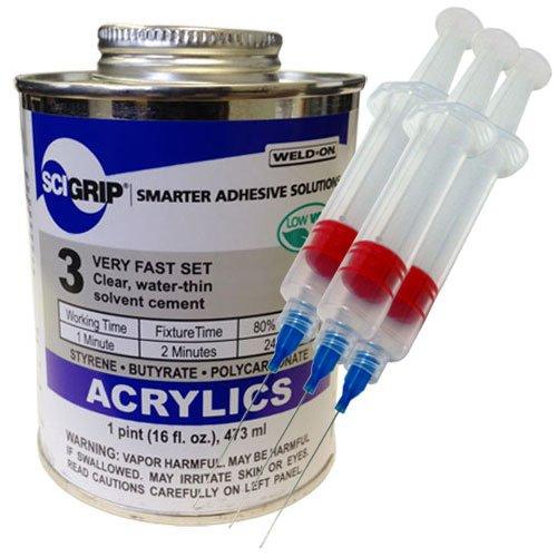 [해외]용접 온 3 아크릴 접착제 -의 파인트 3 팩 용접-25 게이지 정밀 주사기 어플리케이터/Weld-On 3 Acrylic Adhesive - Pint and 3 Pack of Weld-on 25-Gauge Precis