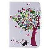 Zoeking iPad Mini4 手帳型 ケース ipadミニ4 ケース おしゃれ PUレザー 可爱い 猫 超薄型 軽量 カード収納付き スタンド機能 (ipad mini4, 猫と木)
