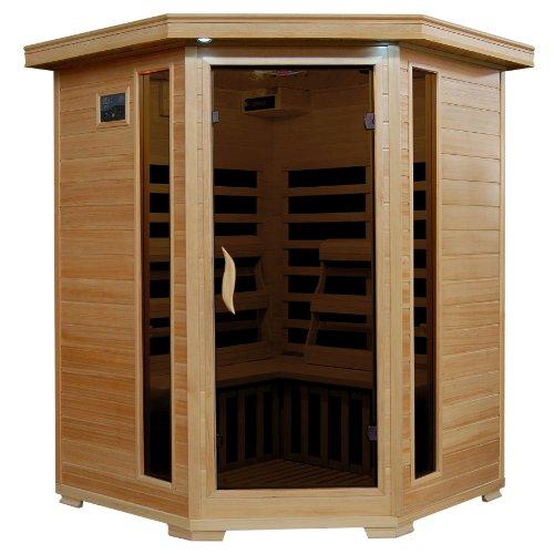 Radiant Saunas Bsa2412 3-Person Hemlock Infrared Sauna With 7 Carbon Corner Heaters front-193795
