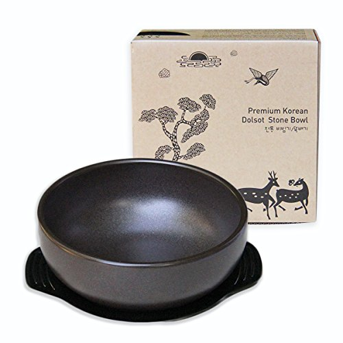 Crazy Korean Cooking Korean Stone Bowl (Dolsot), Sizzling Hot Pot for Bibimbap and Soup (Large, No Lid) - Premium Ceramic (Large Cooking Stone compare prices)