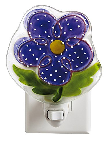 Fun Purple Flower Painted-Glass Nightlight
