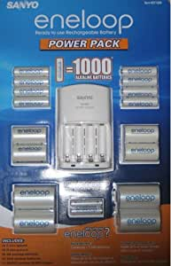 Sanyo 277265 Eneloop Power Pack with Battery Charger, 8 AA & 2 AAA Batteries Plus 4 C & 4 D Size Adapter (CostCo Kit #2)