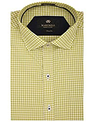 Warewell Men's Slim Fit Pure Cotton Electric Yellow Shirt
