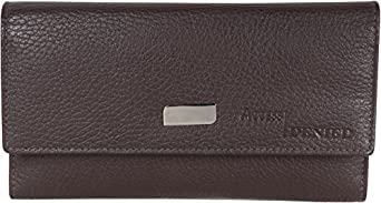 Access Denied RFID BLocking Leather Womens Trifold Clutch Wallet and RFID Checkbook (Dark Chocolate)