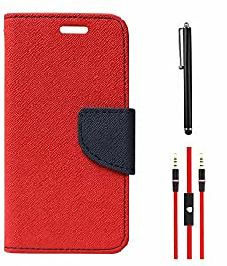 DMG Mercury Goospery Case Fancy Diary Flip Wallet Cover for Motorola Moto E (Red) + AUX Cable + Stylus