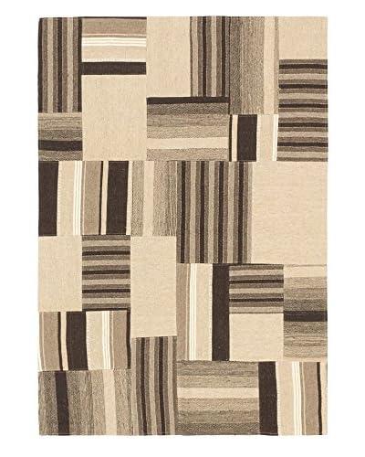 Hand Woven Moldovia Patch Wool Kilim, Khaki, 4' 6 x 6' 5