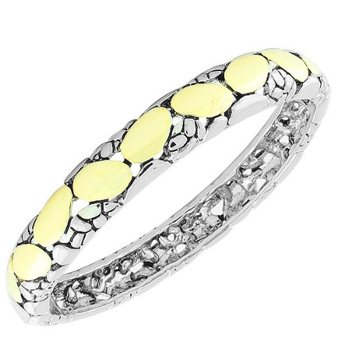 Stainless Steel Silver Yellow Gold-Tone Snake Skin Pebble Handcuff Womens Bangle Bracelet (Two-Tone)