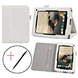 IVSO® Acer Iconia B1-710 7-Inch Slim-BOOK PU Leather Stand Cover Case with Card Holder and Hand Strap (White)