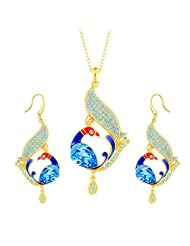 YELLOW CHIMES Swarovski Elements Glamourously Gorgeous Peacock Designer Crystal Jewellery Set For Women