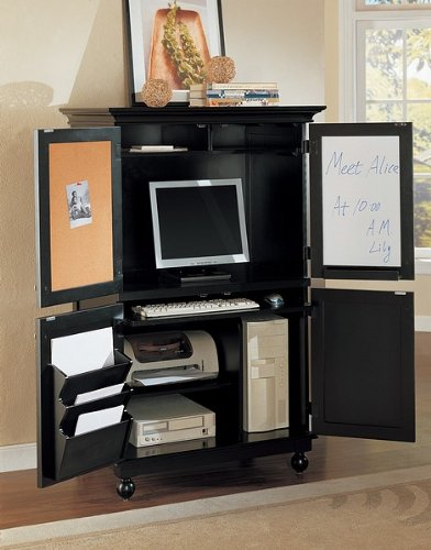 Picture of Comfortable All new item Black wood finish country style computer armoire cabinet desk (B0014B59TG) (Computer Armoires)