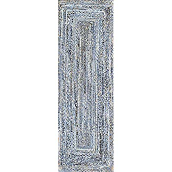 nuLOOM ASDR01A Denim Hand Braided Otelia Denim and Jute Runner, 2.6 x 8, Blue