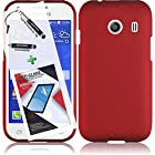 3 in 1 Bundle Samsung Galaxy Ace Style S765C Rubberized Protective Case Cover Skin - Red with Free Ultra-Sensitive Stylus Pen and Premium Screen Protector by BeautyCentral TM