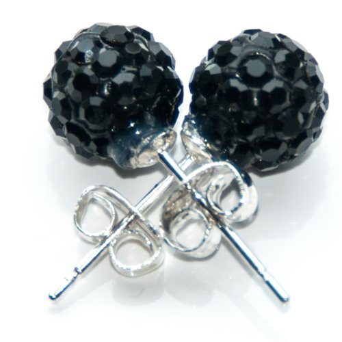 Busy Bead Pair of Shamballa Stud Earrings With Black Crystal Rhinestone Clay Disco Ball 10mm