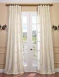 Half Price Drapes DIS-ID7727-96 Pearl Textured Dupioni Silk Curtain, Ivory