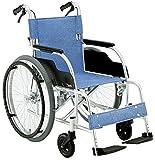 【非課税】 松永製作所 自走型 車いす アルミ製 軽量 スタンダードタイプ ECO-201B E-2 ブルー ECOシリーズ 重量12.8kg