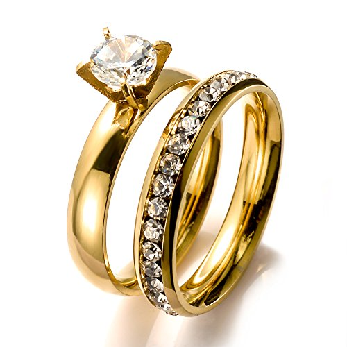 BILONG Jewelry Women Stainless Steel Gold Plated Ring Set With CZ