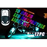 LEXIN 12PCS 15 Color RGB LED Motorcycle Light Kit 1 Remote Control 6 LEDs Per Strip Million Colors