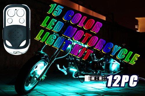 12Pc 15 Color Rgb Led Motorcycle Light Kit Remote Control 6 Leds Per Strip Million Colors