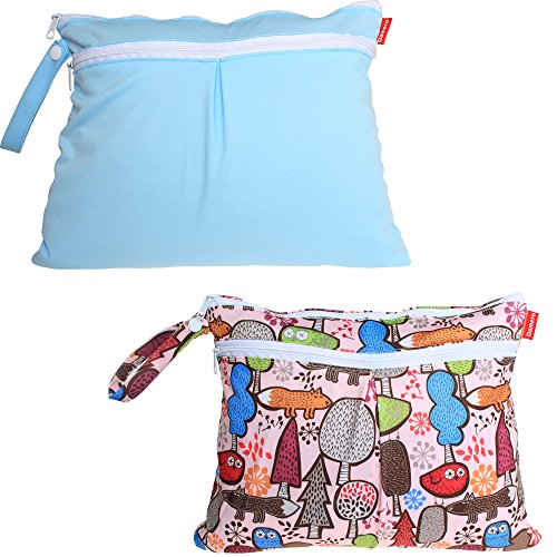 damero-2pcs-pack-cute-travel-baby-wet-and-dry-cloth-diaper-organiser-bag-blue-tree