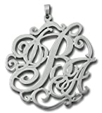 Personalized Silver Lace Monogram Necklace Any Initials - Custom Name Jewelry