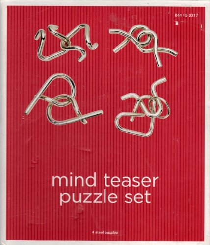 Mind Teaser Puzzle Set Set: 4 Nickel-plated Steel Puzzles