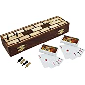 """Set Of 8 - Board Game Full Cribbage Boards Set - 2 Decks Of Playing Cards - 8 Pegs - Gifts In Sets - 10.2"""" X 3.2..."""
