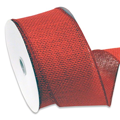 Morex Ribbon Burlap Wired Ribbon, 2-1/2-Inch by 10-Yard Spool, Rose Red