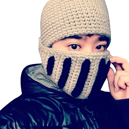 Cool Roman Knight Cap Ear Cover Guaze Mask Warm Kniting Hat By Easybuyitnow (Grey)