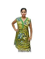 Odishabazaar Women's Green Blue Floral Printed Kurta